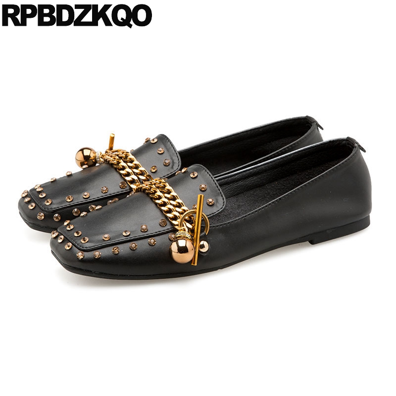 7ef8f8136e Chain Loafers Runway Crystal Black Slip On Square Toe Rhinestone Italian  Flats Metal Nude Designer Shoes Women Luxury 2018