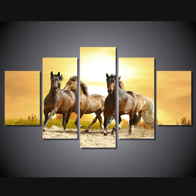 5 Pcs/Set Framed HD Printed Running Horses Picture Wall Art Canvas ...