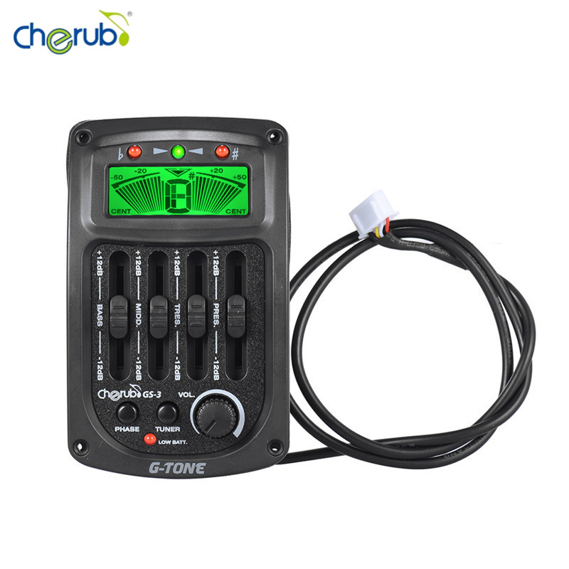 Cherub GS-3 Acoustic 4-Band EQ Equalizer Guitar Preamp Piezo Amplifier with Tuner and Phase Function LCD Display Accessories 4 band eq 7545 guitar piezo preamp amplifier equalizer tuner for acoustic guitar comp parts
