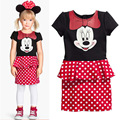 Kids Cotton A-line Dress Girls Mickey Mouse Cartoon Pattern Dot Short Sleeves Above Knee Party Dress For Child Evening Birthday