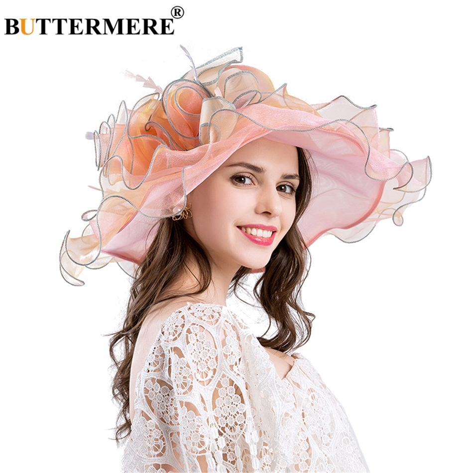ba1df95fbe45a BUTTERMERE Organza Sun Hats For Women Blue Flower Kentucky Derby Hat Female  Elegant Tea Party Ladies Church Caps New Fashion-in Sun Hats from Apparel  ...