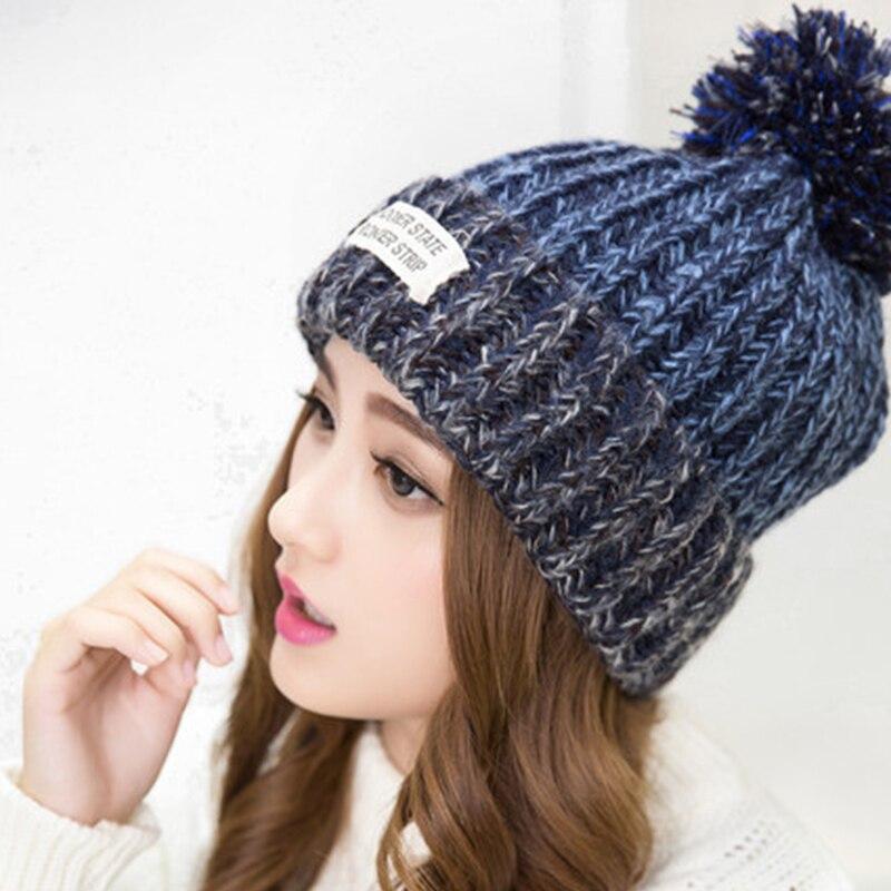 00fefd3a533 Fashion Women Korean Style Autumn Winter Woolen Cap Striped Beanies  Skullies Hat