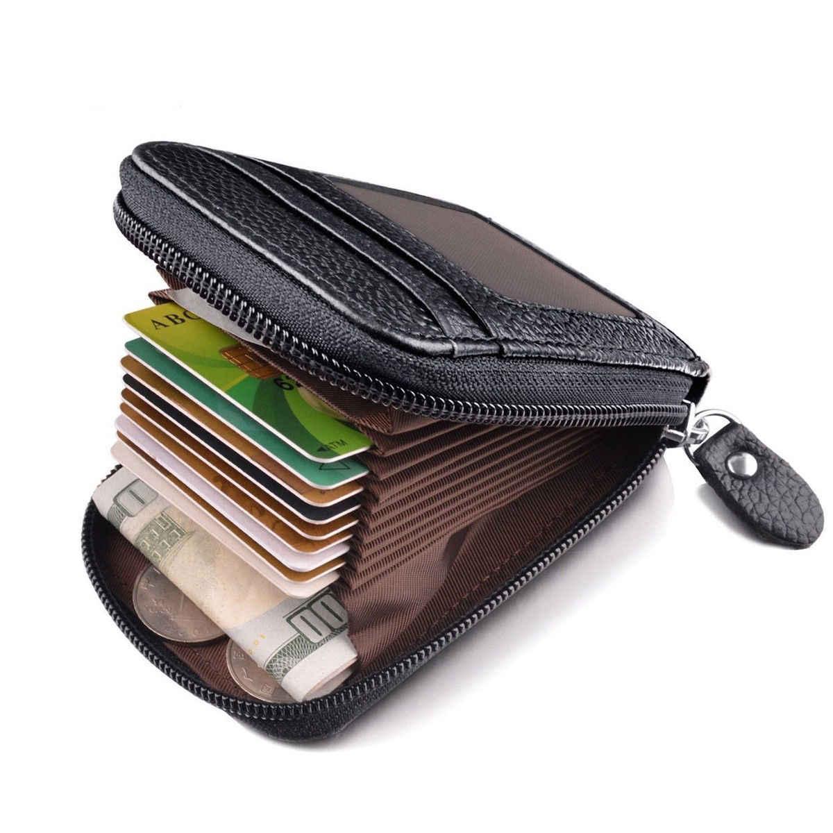 0e500dc04eb5 Men's Wallet Genuine Leather Credit Card Holder RFID Blocking Zipper Thin  Pocket Zip Around Pocket Bifold Wallet Gift