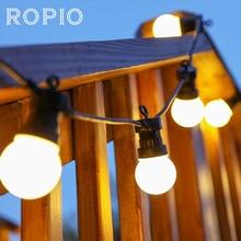 Ropio 8 м 13 м G50 светодио дный лампы миру фестонная нить огни Открытый Водонепроницаемый мяч строка Рождество Гирлянда Свадебный сад Вечерние