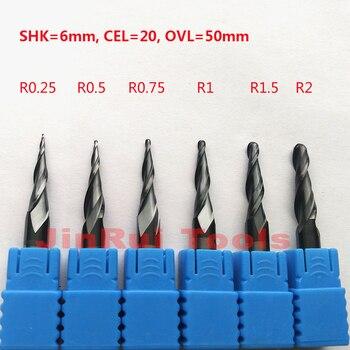Jerray 1 stück R0.25/R0.5/R0.75/R1/R1.5/R2 6mm Schaft 50mm HRC55 vhm Tapere Kugelfräser CNC fräser messer
