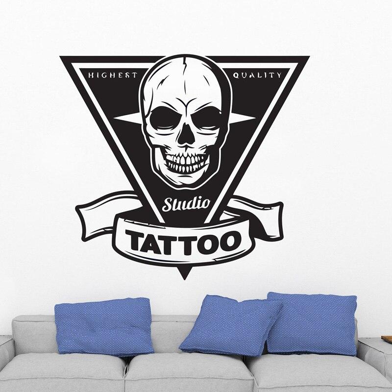 Tattoo Salon Wall Decal Tattoo Shop Sign Logo Poster Studio Design Door Window Vinyl Sticker Mural Gift Decor Wall Art F874 in Wall Stickers from Home Garden