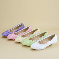 Low Heels Comfortable Lace Bridal Wedding Shoes Women Dancing Shoes Beautiful Lady Party Prom Shoes White