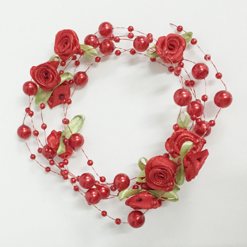 30m Rose With Leaf Handmade Fishing Line Pearls Flowers