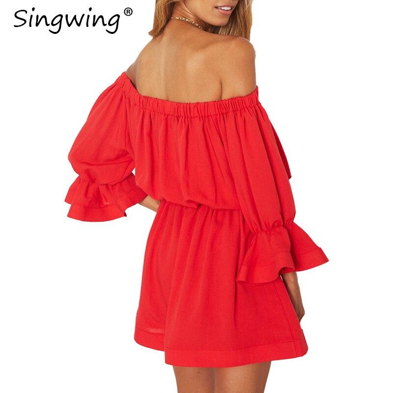 Singwing красный слэш Средства ухода за кожей шеи платье Для женщин летние с плеча Flare рукавом женские платья свободные повседневные милые плат...