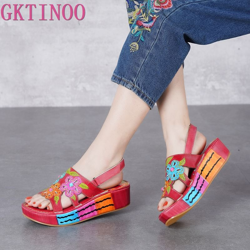 GKTINOO 2019 Summer Shoes Women Wedges Platform Sandals Genuine Leather Open Toe Flower Slingback Lady Large Size SandalsGKTINOO 2019 Summer Shoes Women Wedges Platform Sandals Genuine Leather Open Toe Flower Slingback Lady Large Size Sandals