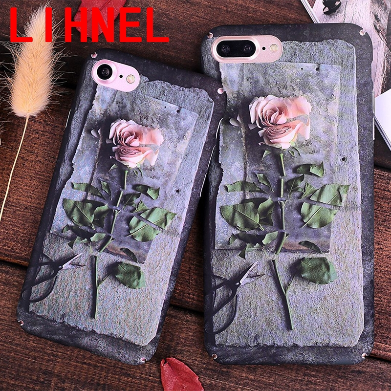 LIHNEL Luxury Retro Style Rose Flower Paint <font><b>Phone</b></font> <font><b>Case</b></font> For <font><b>iPhone</b></font> 7 6 6s Plus Hard PC <font><b>Cases</b></font> Back Cover Coque For iPhone7 Plus