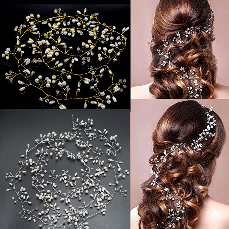 Handmade 100CM Lenght Gold and Silver Flower Vine Tiara Bride Head Chain Bridal Hair Ornaments Wedding Hair Jewelry Accessories