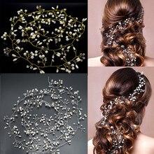 Handmade 100CM Lenght Gold and Silver Flower Vine Tiara Bride Head Chain Bridal Hair Ornaments Wedding Hair Jewelry Accessories