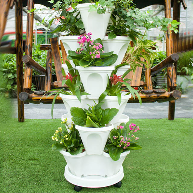 Online Shop 3layer Stackable Planter Flowerpot And A Pot Tray With