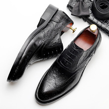 QYFCIOUFU Vintage Genuine Leather Formal Brogue Shoes Men Pointed Toe Lace-up Dress Shoes Brand Oxford Shoes For Men