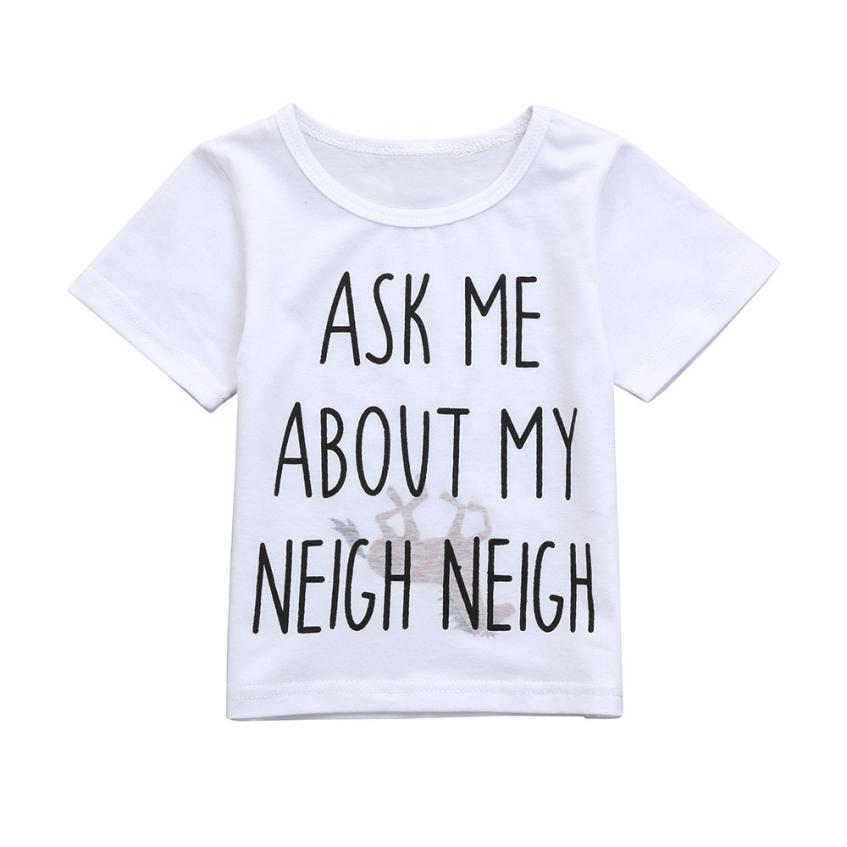 2018 Fashion Toddler Baby Girls Boys Horse Inside Clothes Short Sleeve T Shirt Animal Kids Letter Print Tops Tees T-Shirt 0-3T