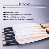 12PCS 30 Inch By hand Wooden Arrows White Turkey Feather outdoor Hunting Recurve /Compound Bow Wooden Archery Arrows