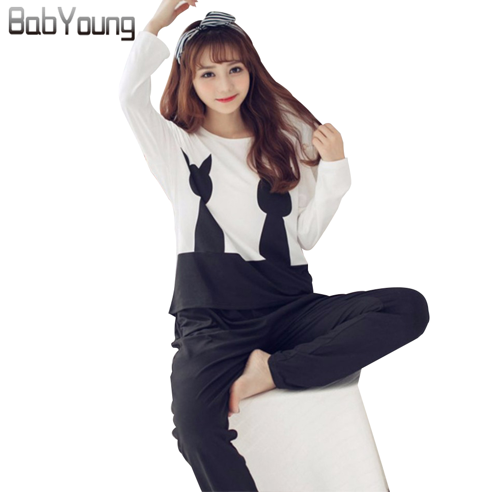 BabYoung 2018 New Spring Women   Pajamas     Sets   Modal Pijamas Mujer Cat Pattern Pyjamas Femme Long Sleeve Sleepwear Female Home Suit