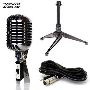 Professional Dynamic Vintage Microphone Stand & 3.5mm Jack Karaoke Retro Mic For 55SH Series II Video Recording Studio Sing DJ