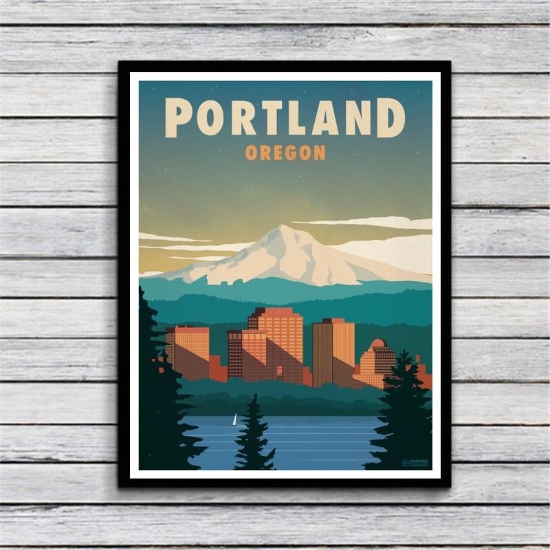 Home Decor Stores Portland Oregon: VINTAGE PORTLAND OREGON Canvas Painting Wall Art Print