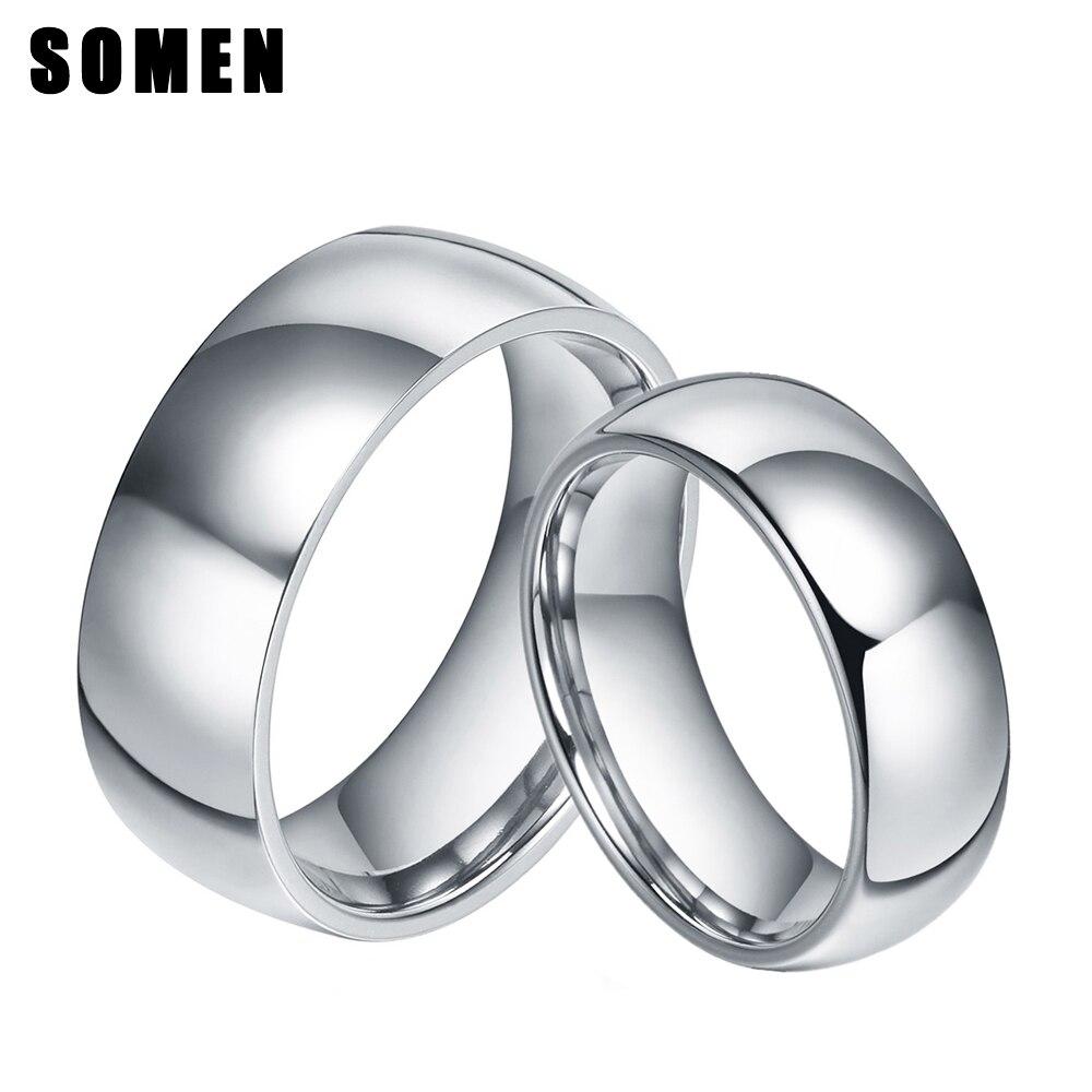 2 Stücke 6mm & 8mm Ring Set Silber Titan Ring Gewölbtes Design Hochzeit Band Engagement Ringe Mode Paar Schmuck Liebe Allianz Anel Wasserdicht, StoßFest Und Antimagnetisch