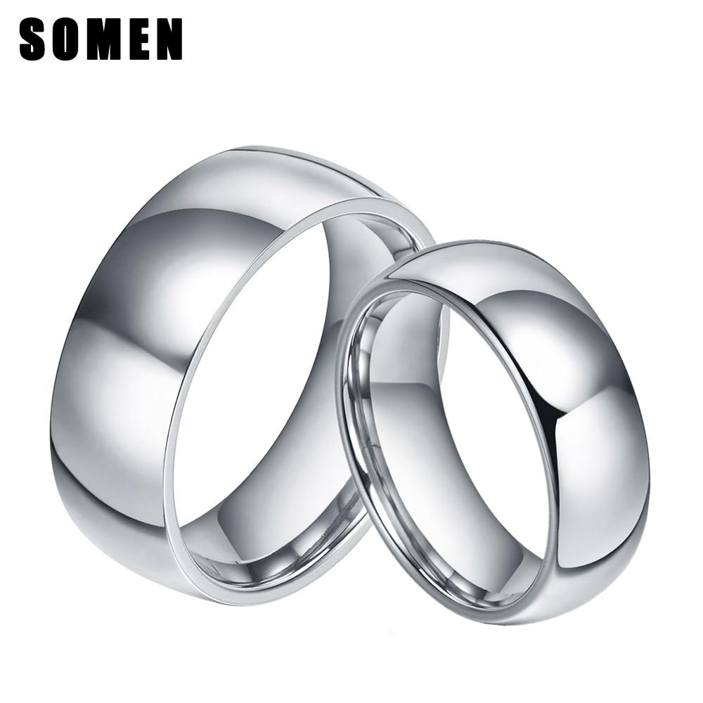 2ks 6 / 8mm prsten sada stříbrná barva titanový prsten klenutý design svatební kapela zásnubní prsteny módní pár láska aliance anel