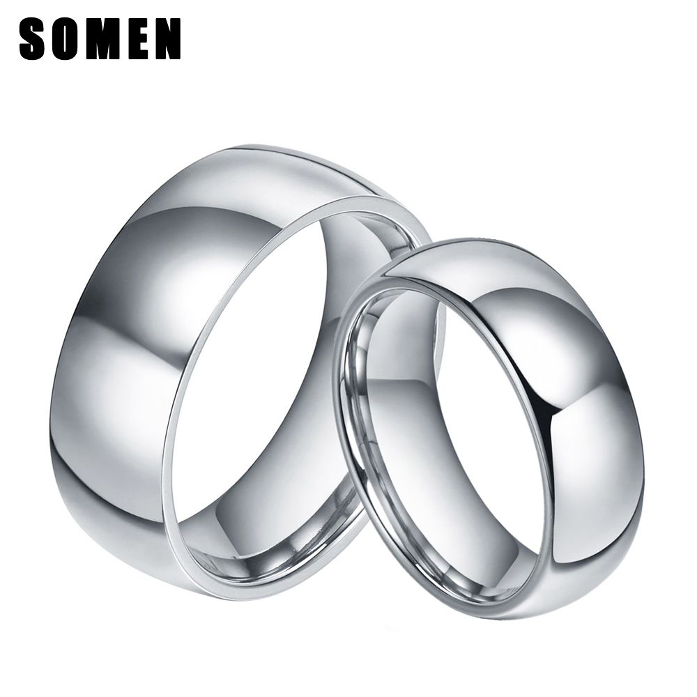 6MM&8MM Mens Womens Silver Polished Titanium Mariage ...