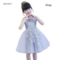 KICCOLY 2018 Kid Peacock Beading For Children Summer Sleeveless Lace Princess Wedding Dress Girls Teenage Party Prom Dress 3 14T
