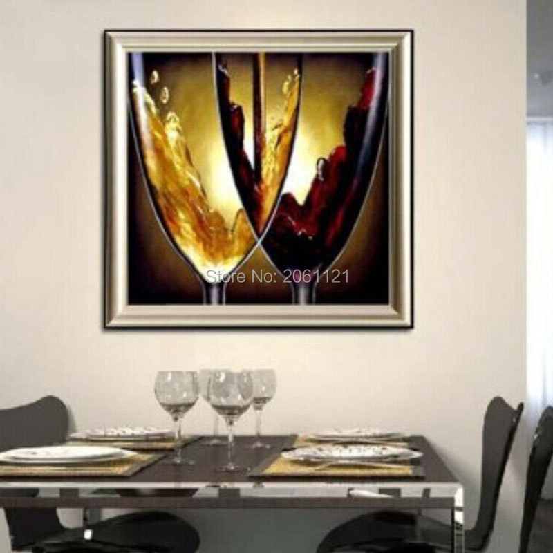 Hand painted modern dining room decorative oil paintings for Wine wall art decorating dining room