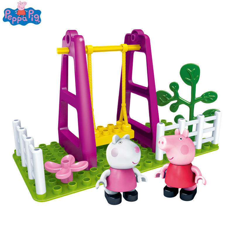 Peppa Pig Family Toy Building Blocks Swing Slide With George Rebecca Figure Parent-child Game Kids Toy Model Building Flight Tracker Genuine Peppa Pig Blocks