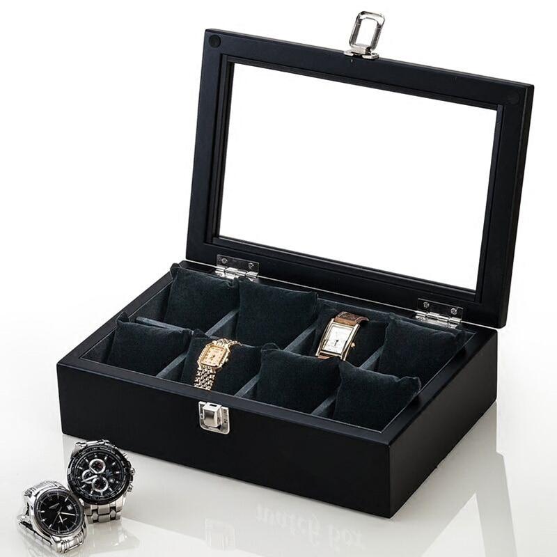 8 Slots Holz Uhrenbox New Coffee Herren Mechanische Uhr - Uhrenzubehör - Foto 6