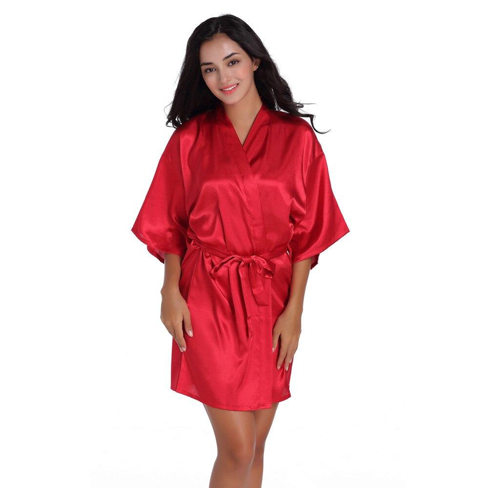 Women's Pure Short Kimono Silk Robe Sleepwear Dressing Gown For Women Party Bridesmaid Wedding Bride Bathrobe Nightgown