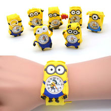 3D Eye Despicable Me minion Cartoon watch Precious Milk Dad Cute Children clock Baby kid Quartz Wrist Watches for Girls Boys