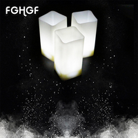 12Pcs/Box Parties Home Decoration White Base Flickering LED Square Tea Lights Plastic Battery operate Candles Wedding votive
