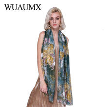 Wuaumx Autumn Winter Women Scarf For Butterfly Pattern Satin Scarfs Hijab Cotton Linen Scarves Female Shawl Foulard femme