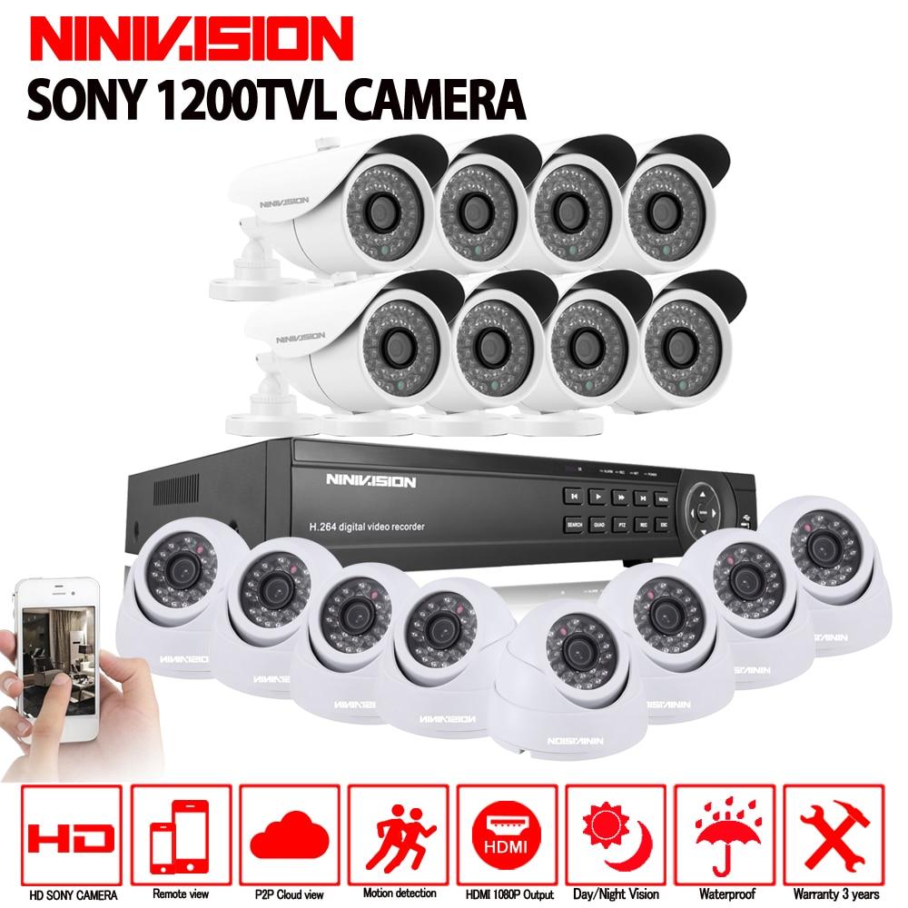 16CH AHD 1080N 1080 p DVR CCTV de Sécurité À Domicile Caméra Système 16 pcs IR Intérieur extérieur 1200TVL Vidéo Surveillance nuit vision kit