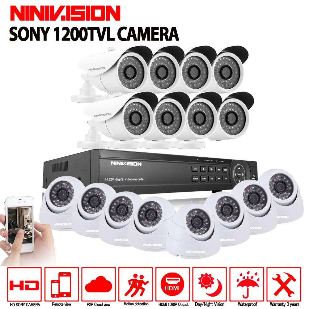 16CH AHD 1080N 1080P DVR CCTV Home Security Camera System 16PCS IR Indoor outdoor 1200TVL Video Surveillance night vision kit