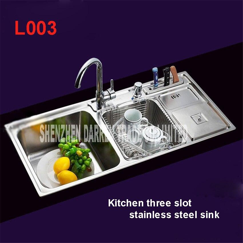 91*43*21 cm Topmount/Triple bol en acier inoxydable éviers de cuisine évier de cuisine retirer évier évier robinet de cuisine L003
