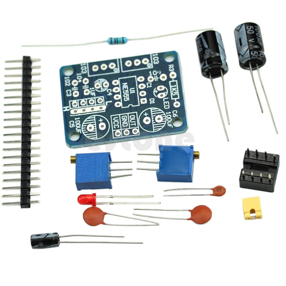 Ne555 Duty Cycle Frequency Adjustable Square Wave Module Parts 1hz Clock Generator With Chip On Board Cob Components