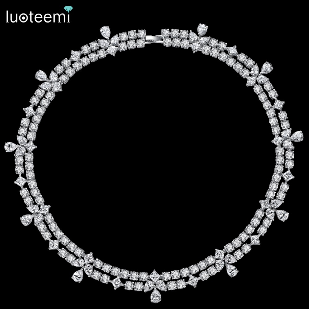 LUOTEEMI New Luxuries Delicate Wedding Jewelry Bridal Necklace Flower Round Square Waterdrop Crystal Statement Bridesmaid Choker цены онлайн