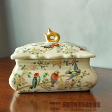 European style retro ceramic jewelry box crack flower bedroom Chinese Home Furnishing ornaments