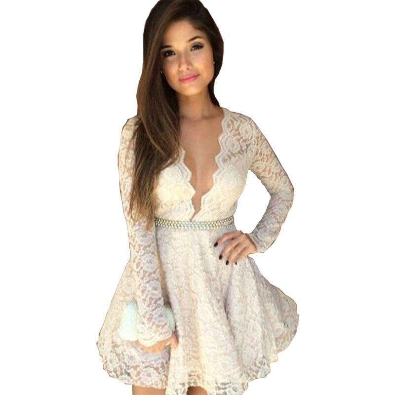 Women summer dress 2016 new Fashion deep V neck ...