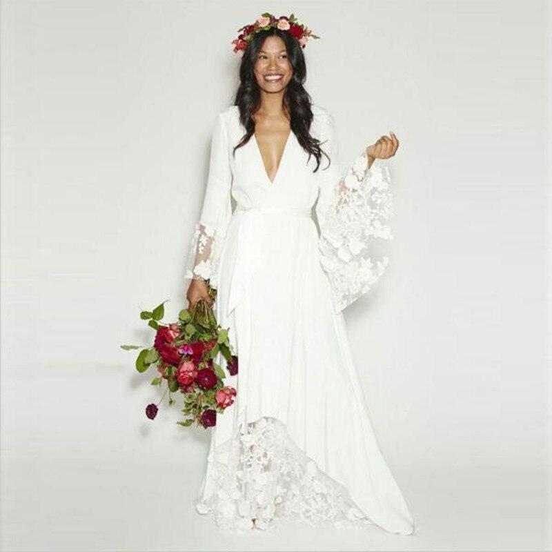 Style bohème Hippie col en v profond manches longues robe de soirée de mariage grande taille
