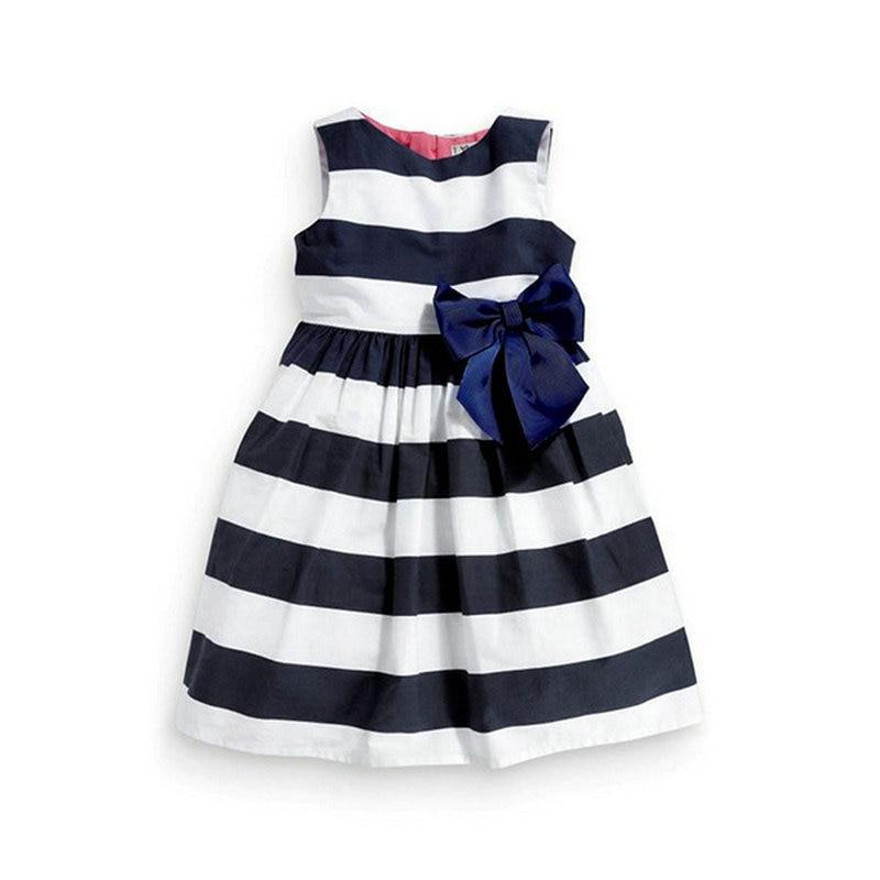 Baby Kid Girls Sleeveless One Piece Dress Blue Striped Bowknot Tutu Summer vestido summer kids girls tutu one piece sleeveless big bowknot party floral dress