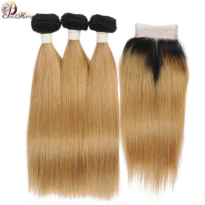 Pinshair Honey 1B 27 Ombre 3 Bundles With Closure Brazilian Straight Hair Blonde Bundles With Closure