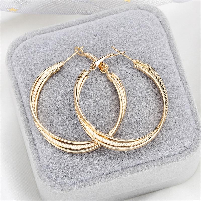 Simple Gold color Big Hoop Earring