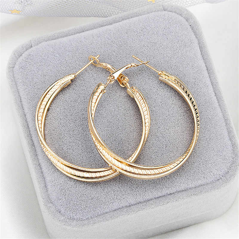 Simple Gold color Big Hoop Earring For Women Statement Fashion Jewelry Accessories Large Circle Round Earrings