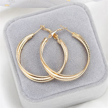 Simple Gold color Big Hoop Earring For Women Statement Fashion Jewelry Accessories Large Circle Round Earrings(China)