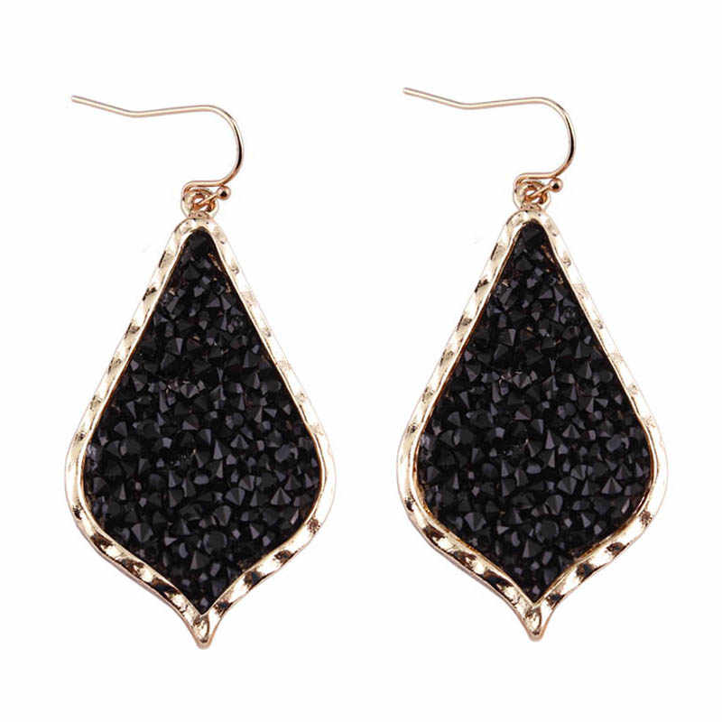 ZWPON 2018 Zinc Alloy Pave Mixture Crystal Resin Black Earrings for Women Fashion Teardrop Statement Earrings Jewelry Wholesale