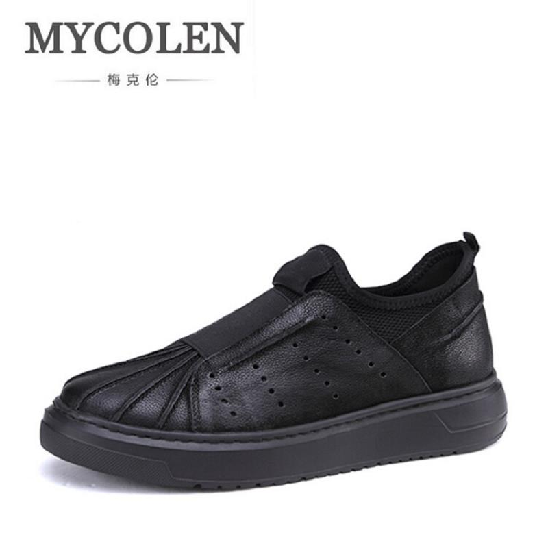 MYCOLEN Casual Shoes Men Genuine Leather Shoes Soft Comfortable Male Footwear Men's Shoes Brand Black Loafers Mocassin Homme djsunnymix brand handmade 2017 casual male shoes adult for men genuine leather breathable soft quality comfortable footwear